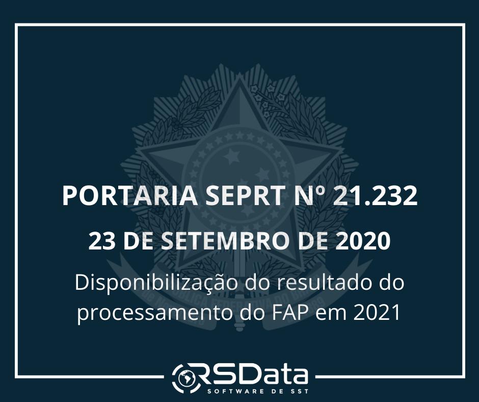 PORTARIA Nº 21.232, DE 23 DE SETEMBRO DE 2020